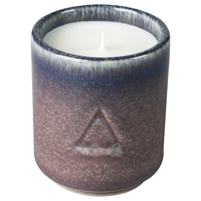 OSYNLIG Scented candle in pot, Fig & Cypress/lilac blue, 2 ¾ ""