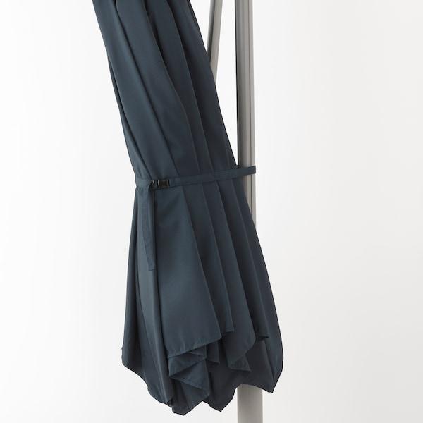 "OXNÖ / LINDÖJA Offset patio umbrella with base, blue/Svartö dark gray, 118 1/8 """