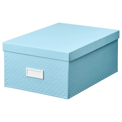 "PALLRA storage box with lid light blue 9 ¾ "" 13 ¾ "" 6 """