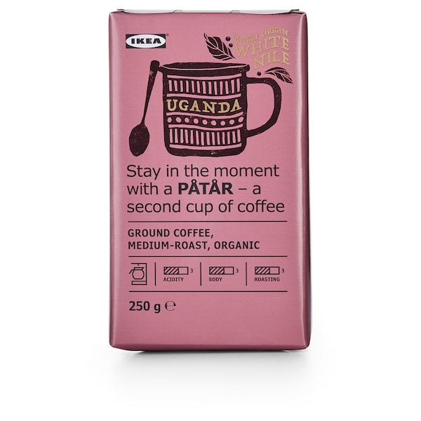 PÅTÅR Ground coffee, medium roast, Uganda/100 % Arabica beans/UTZ certified/organic