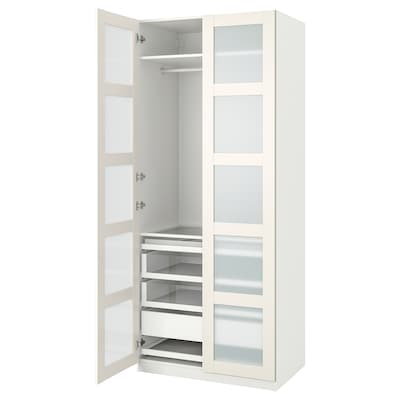 PAX / BERGSBO Wardrobe combination, white/frosted glass, 39 3/8x23 5/8x93 1/8 ""
