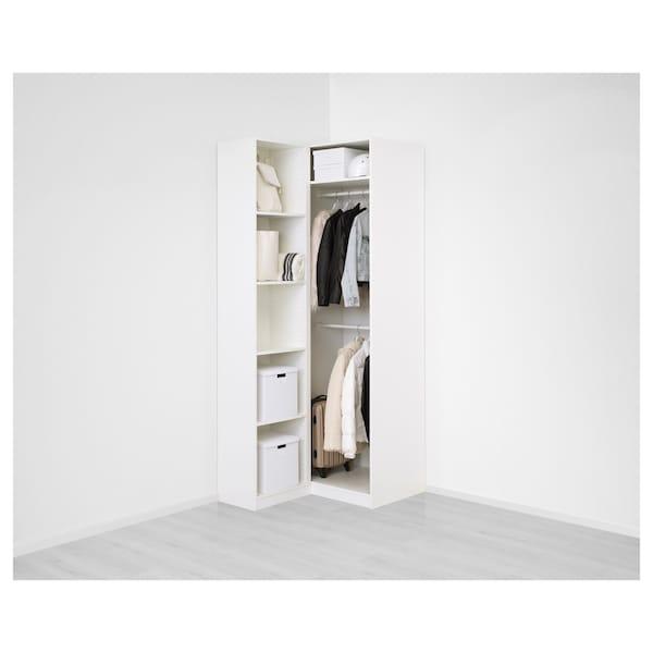 "PAX Corner wardrobe, white/Fardal Vikedal, 43 1/2/34 5/8x93 1/8 """