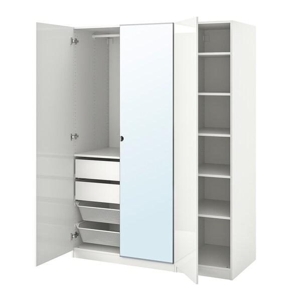 "PAX / FARDAL/VIKEDAL Wardrobe combination, high gloss white/mirror glass, 59x23 5/8x79 1/4 """