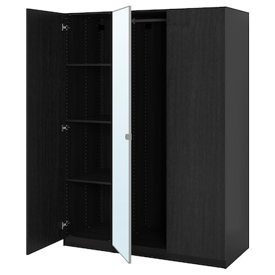 PAX / FORSAND/VIKEDAL Wardrobe combination, black-brown/mirror glass, 59x23 5/8x79 1/4 ""