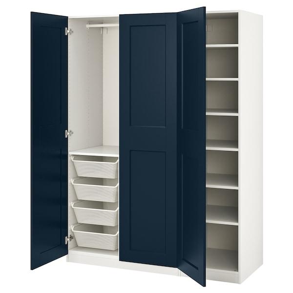 "PAX / GRIMO Wardrobe combination, white/Grimo dark blue, 59x23 5/8x79 1/4 """