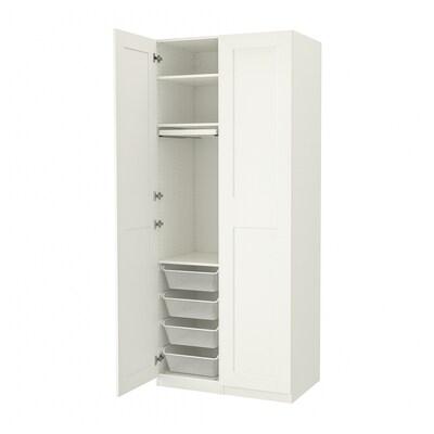 "PAX / GRIMO Wardrobe combination, white/white, 39 3/8x23 5/8x93 1/8 """