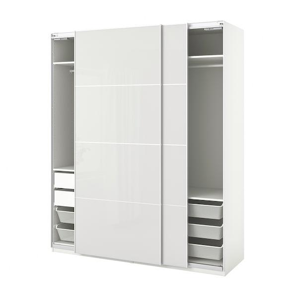 "PAX / HOKKSUND Wardrobe combination, white/high gloss light gray, 78 3/4x26x93 1/8 """
