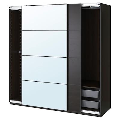 "PAX / MEHAMN/AULI Wardrobe combination, black-brown/mirror glass, 78 3/4x26x79 1/4 """