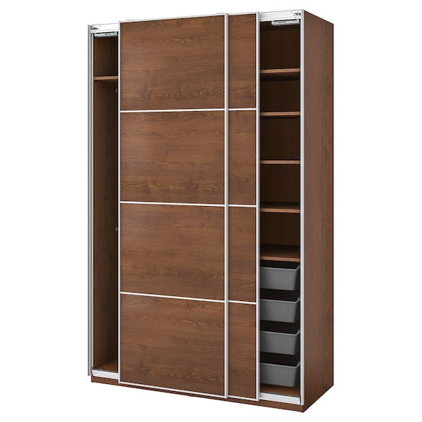 """PAX / MEHAMN wardrobe combination brown stained ash effect 59 """" 26 """" 93 1/8 """""""
