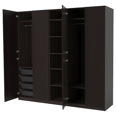 PAX Wardrobe, black-brown/Forsand black-brown stained ash effect, 98 3/8x23 5/8x93 1/8 ""