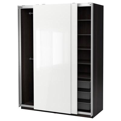 """PAX Wardrobe, black-brown/Hasvik high-gloss/white, 59x26x79 1/4 """""""