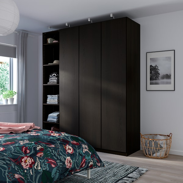 "PAX Wardrobe, black-brown stained ash effect/Repvåg black-brown stained oak veneer, 78 3/4x23 5/8x93 1/8 """