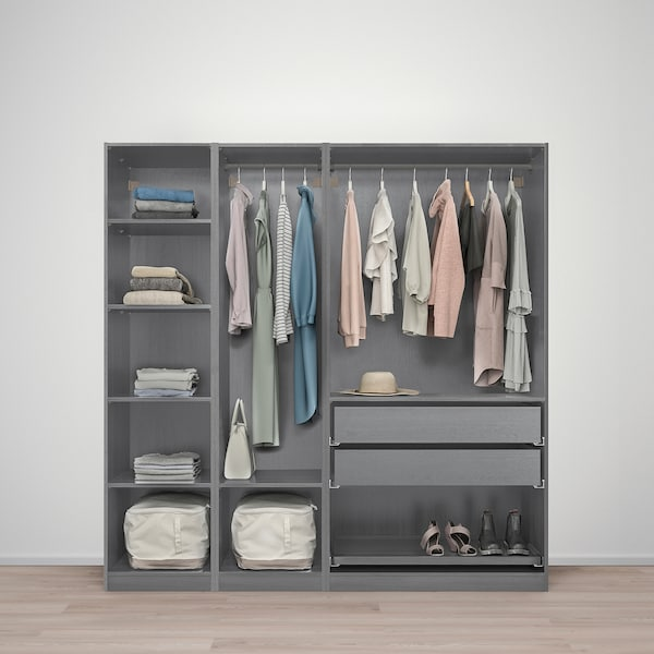 """PAX Wardrobe combination, gray stained ash effect, 78 3/4x23 5/8x79 1/4 """""""