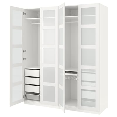 """PAX wardrobe white/Bergsbo frosted glass 78 3/4 """" 23 5/8 """" 93 1/8 """""""