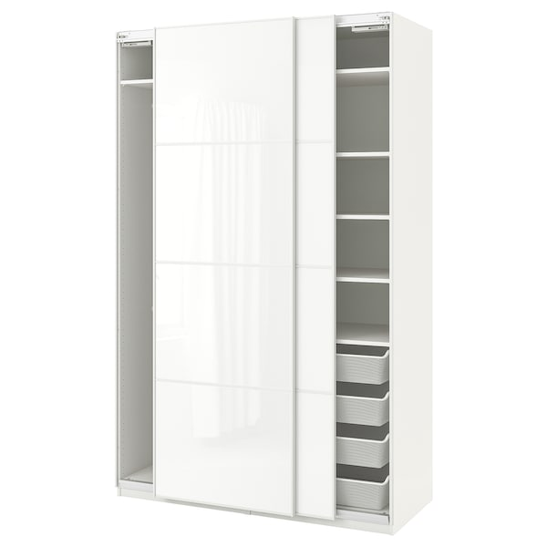 PAX Wardrobe, white/Färvik white glass, 59x26x93 1/8 ""