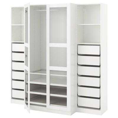 "PAX wardrobe white/Tyssedal glass 78 3/4 "" 23 5/8 "" 79 1/4 """
