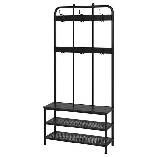 "PINNIG coat rack with shoe storage bench black 35 3/8 "" 14 5/8 "" 76 """
