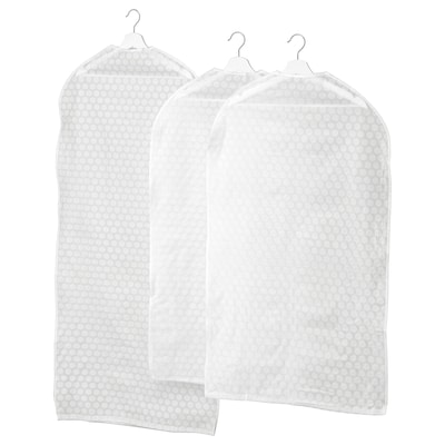 PLURING Clothes cover, set of 3, transparent white