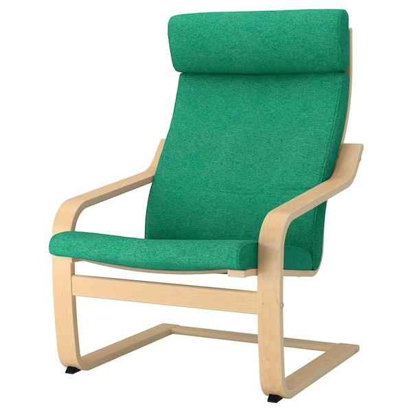 POÄNG Armchair, birch veneer/Lysed green