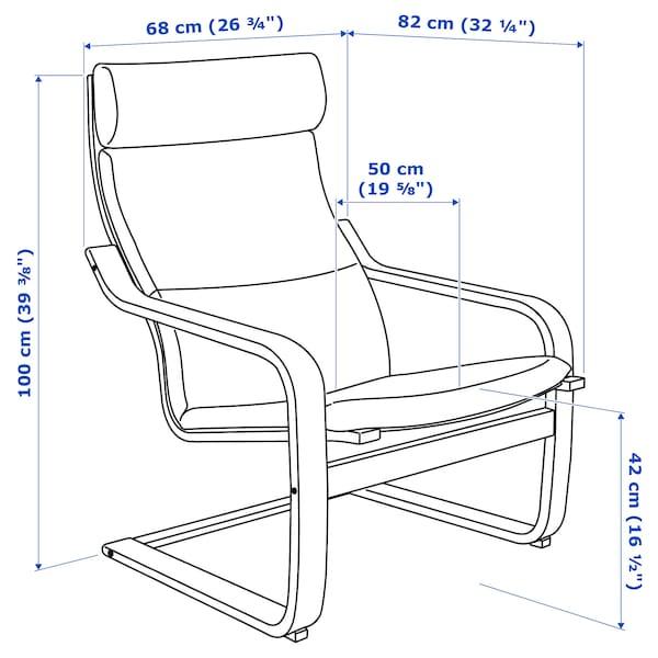 "POÄNG armchair birch veneer/Lysed gray 26 3/4 "" 32 1/4 "" 39 3/8 "" 22 "" 19 5/8 "" 16 1/2 """