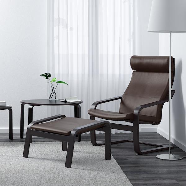 POÄNG Footstool, black-brown/Glose dark brown