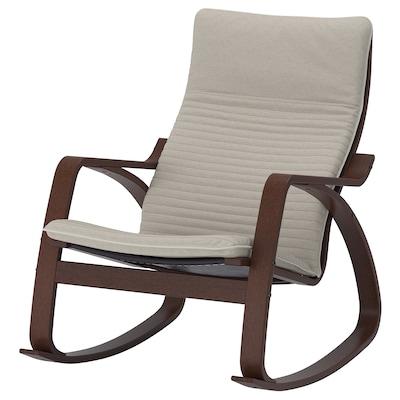 POÄNG Rocking chair, brown/Knisa light beige
