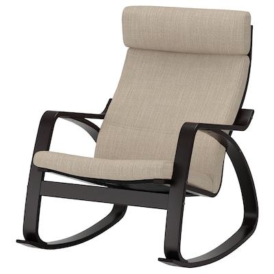 """POÄNG rocking chair black-brown/Hillared beige 26 3/4 """" 37 """" 37 3/8 """" 22 """" 19 5/8 """" 17 3/4 """""""