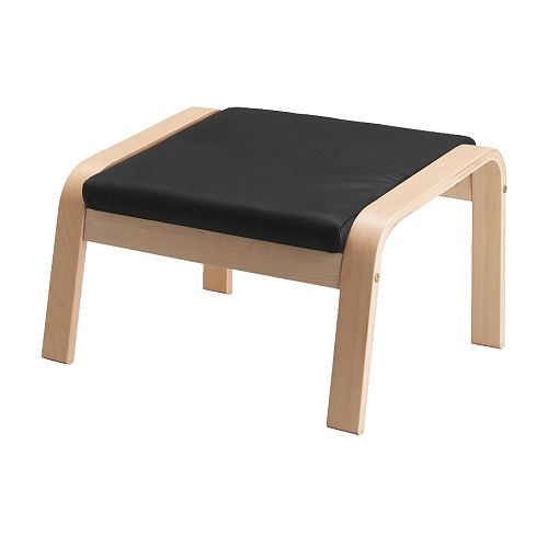 Po ng footstool glose black ikea for Ikea poang leather
