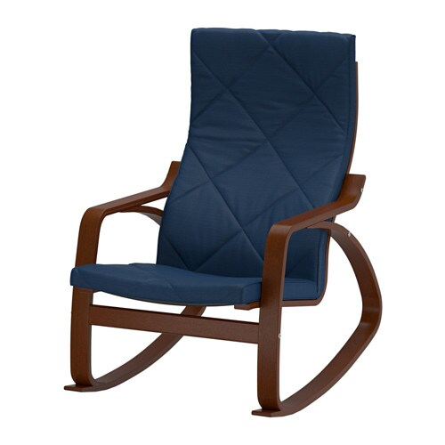 Ikea Poang Chair Medium Brown ~   Rocking chair, medium brown, Edum dark blue  medium brown  IKEA