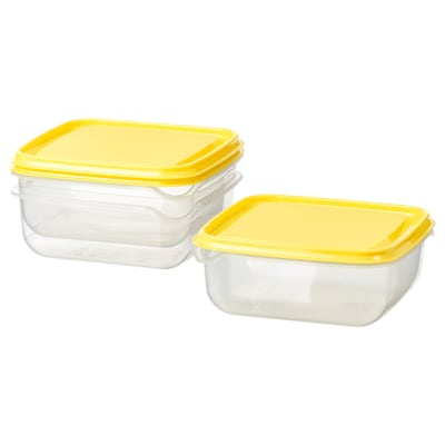 """PRUTA food container transparent/yellow 5 ½ """" 5 ½ """" 2 ¼ """" 20 oz 3 pack"""