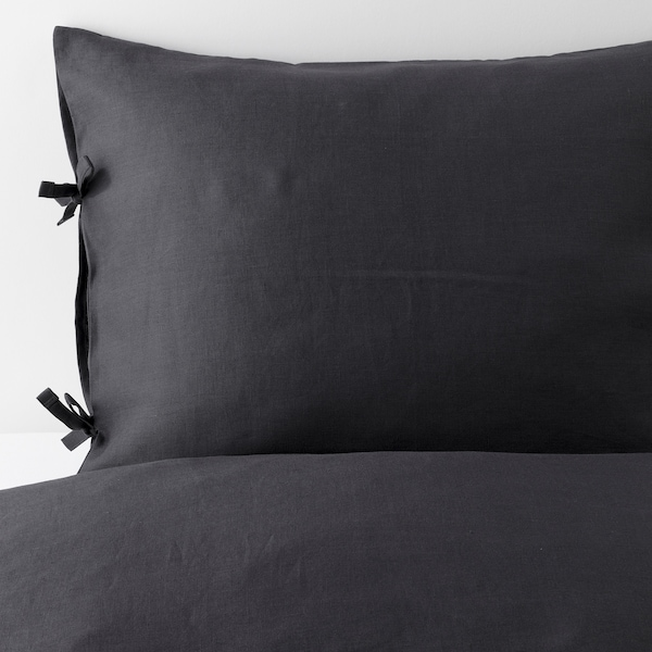 PUDERVIVA Duvet cover and pillowcase(s), dark gray, Full/Queen (Double/Queen)