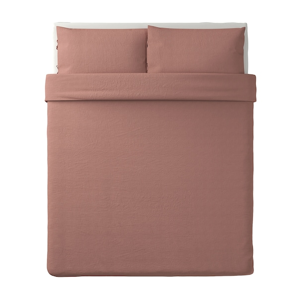 PUDERVIVA Duvet cover and pillowcase(s), dark pink, Full/Queen (Double/Queen)