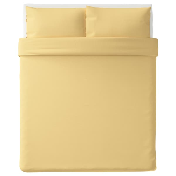 PUDERVIVA Duvet cover and pillowcase(s), light yellow, Full/Queen (Double/Queen)