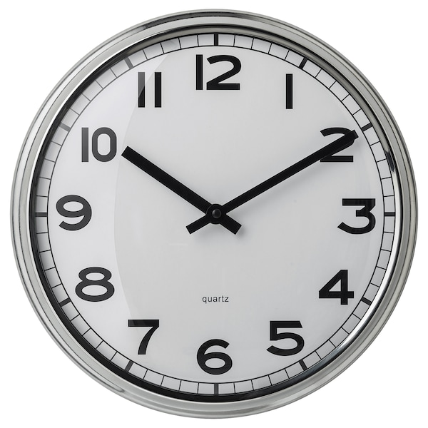 """PUGG wall clock stainless steel 2 """" 12 ½ """""""