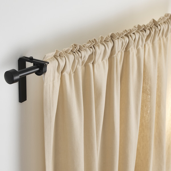"RÄCKA curtain rod black 47 "" 83 "" 3/4 "" 11 lb"
