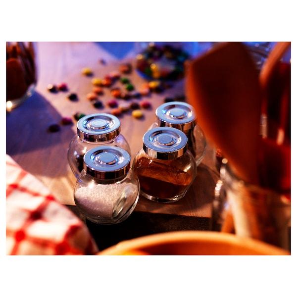 RAJTAN Spice jar, glass/aluminium-colour, 5 oz