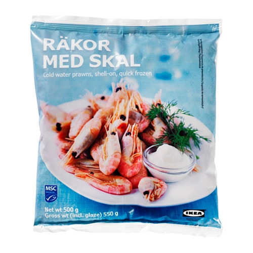 RÄKOR MED SKAL Shrimp with shell, frozen   These shrimp are caught in the deep sea.