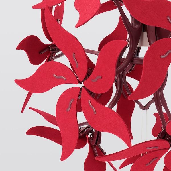 "RAMSELE Pendant lamp, flower/dark red, 17 """