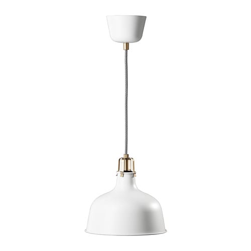 RANARP Pendant lamp   Gives a directed light.   Good for lighting dining tables or a bar area.