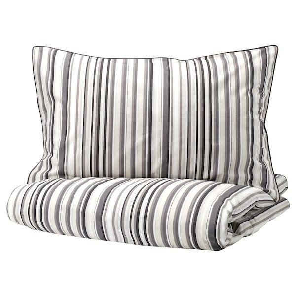 RANDGRÄS Duvet cover and pillowcase(s), gray/stripe, Twin