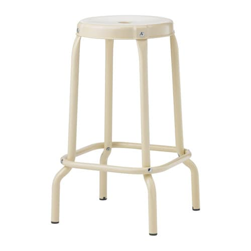 RÅSKOG Bar stool IKEA Easy to move thanks to the hole in the seat. Plastic feet protect the furniture when in contact with a damp surface.