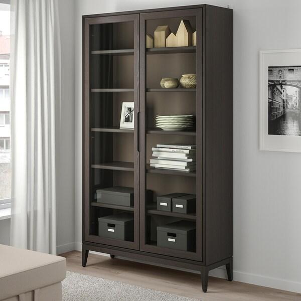 """REGISSÖR Glass-door cabinet, brown, 46 1/2x79 7/8 """""""