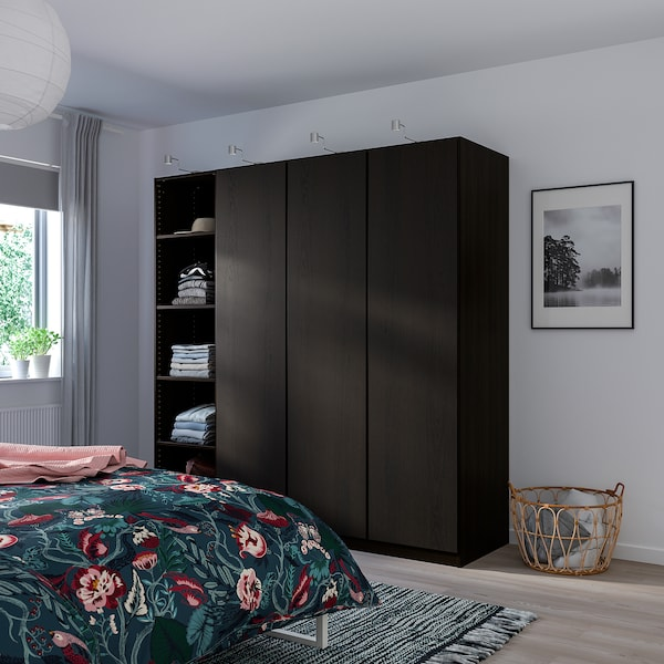"REPVÅG door with hinges black-brown stained oak veneer 19 1/2 "" 76 5/8 "" 79 1/4 "" 3/4 """
