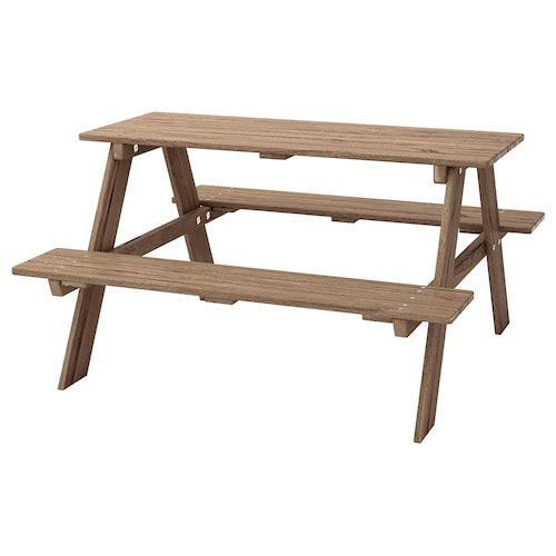 """RESÖ children's picnic table gray-brown stained 36 1/4 """" 35 """" 19 1/4 """""""