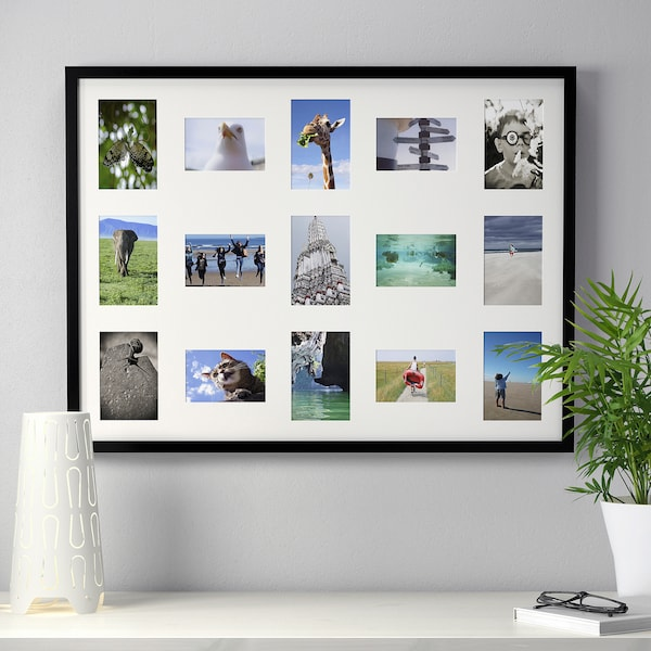 RIBBA Frame for 15 pictures, black, 23 ½x31 ½ ""