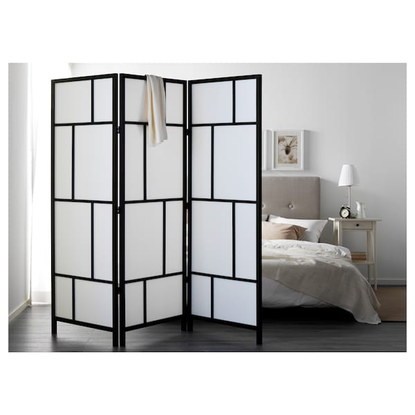 """RISÖR Room divider, white/black, 85x72 7/8 """""""
