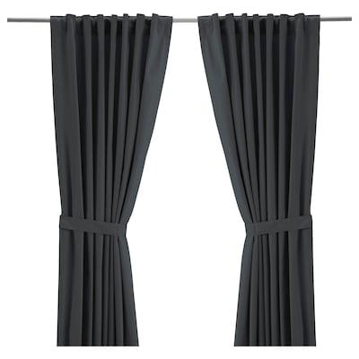"""RITVA Curtains with tie-backs, 1 pair, gray, 57x65 """""""