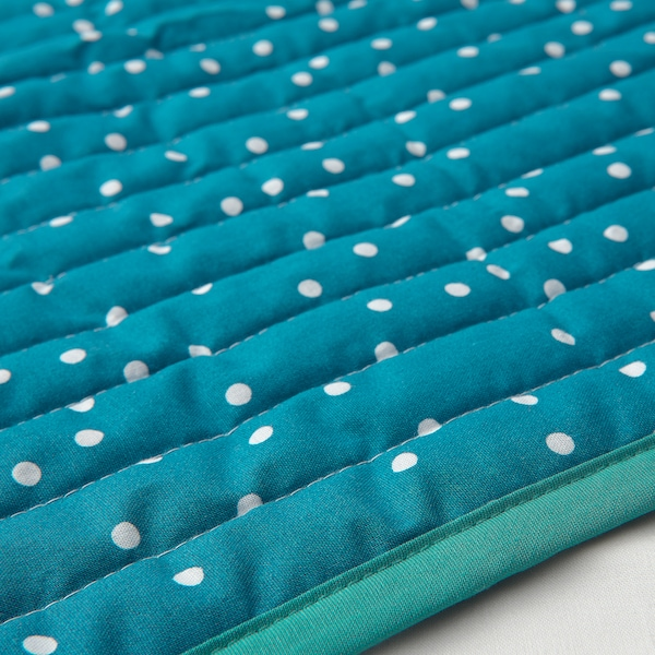RÖRANDE Quilted blanket, fruit/dots pattern/blue, 38x38 ""