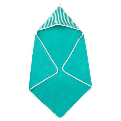 "RÖRANDE Towel with hood, striped/green, 32x32 """