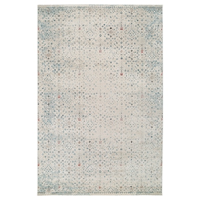 """ROMDRUP Rug, low pile, off-white antique look/floral patterned, 6 ' 7 """"x9 ' 10 """""""